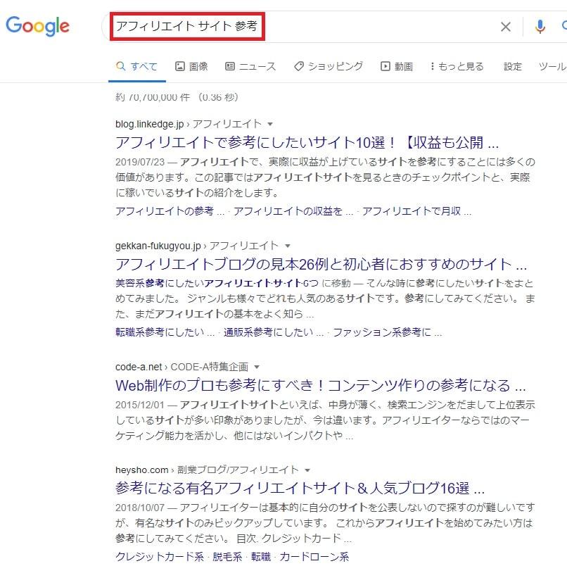 検索意図を調べる